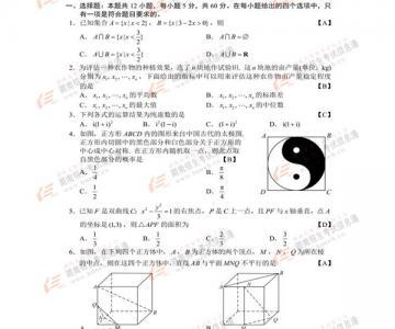 2017年高考安徽文科数学试题及答案出炉