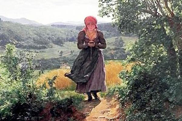▲油画中的少女,俨然是在郊外一边漫步时一边在滑手机! (图/翻摄自网路)